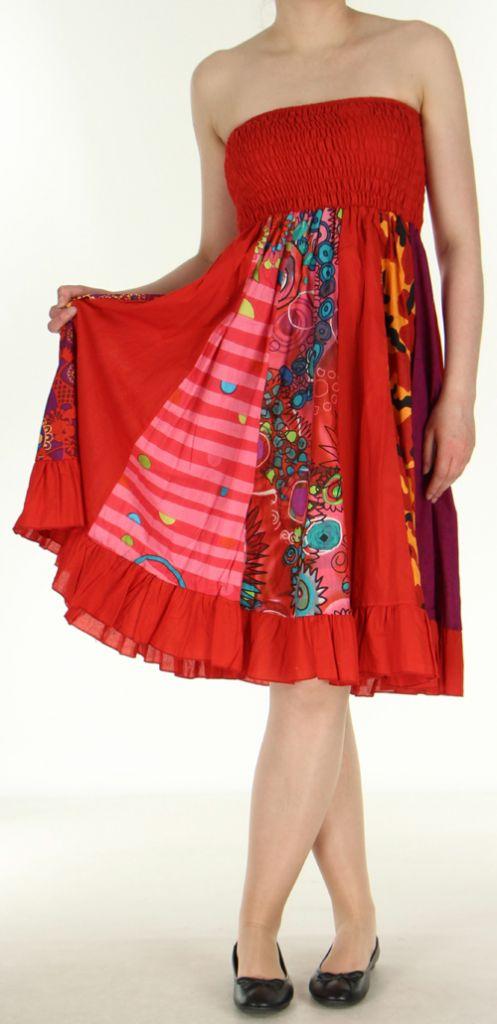 Jupe longue ethnique rouge transformable 2en1 Elise 271159
