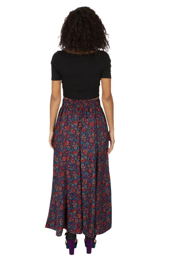 Jupe longue femme pour l'été fleurie bleue et gypsie Brenda