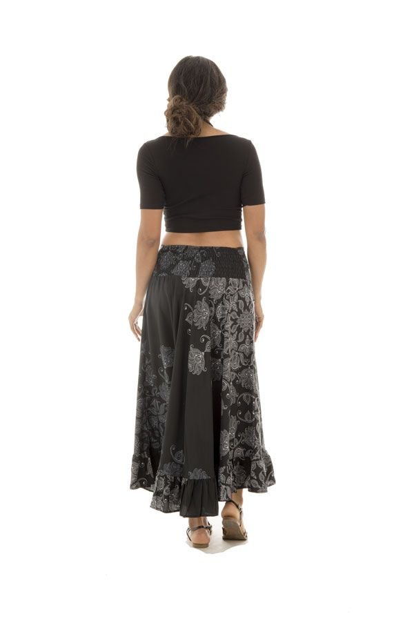 jupe longue légère avec motifs ethniques noire et blanche Alis 289234