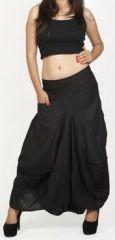 Jupe longue noire ethnique coupe bourgeon uni Saline 271106