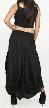 Jupe longue noire ethnique coupe bourgeon uni Saline