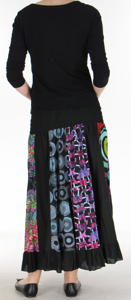 Jupe longue noire ethnique transformable 2en1 Elise 271146