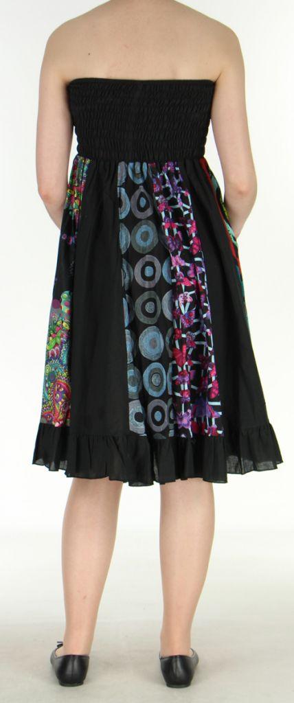 Jupe longue noire ethnique transformable 2en1 Elise