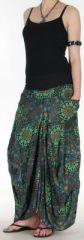Jupe longue noire imprimée coupe bourgeon Emini 271209