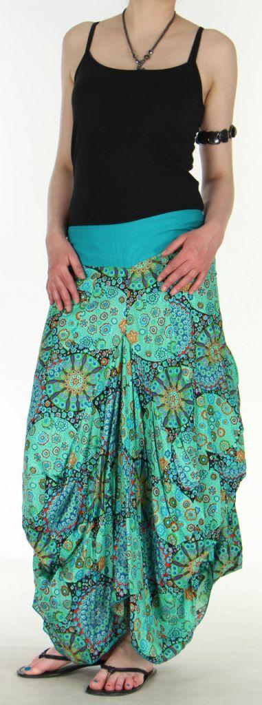 Jupe longue turquoise imprimée coupe bourgeon Emini 271213