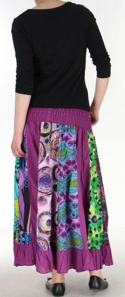 Jupe longue violette ethnique transformable 2en1 Elise