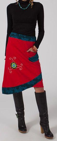 Jupe mi-longue Ethnique et Originale Lounea Rouge 275019