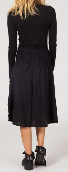 Jupe noire mi-longue ethnique pour l'hiver Magila 274246
