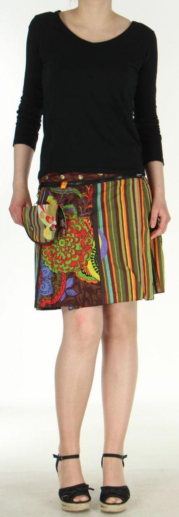 Jupe ou Surjupe courte très originale et colorée Marron Pili 272791