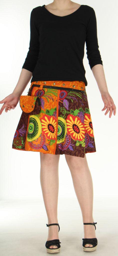 Jupe ou Surjupe courte très originale et colorée Orange Pili 272781