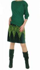 Jupe surjupe ethnique verte en velours et dentelle 249004