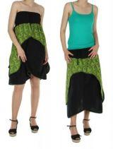 Jupe transformable en robe isia vert 246254