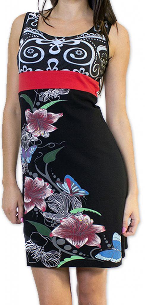 Légère et fluide robe courte et chic de soirée Noire Annela 273243