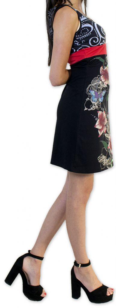 Légère et fluide robe courte et chic de soirée Noire Annela 273246