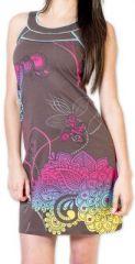 Magnifique robe courte chic et colorée Grise Jess 273499