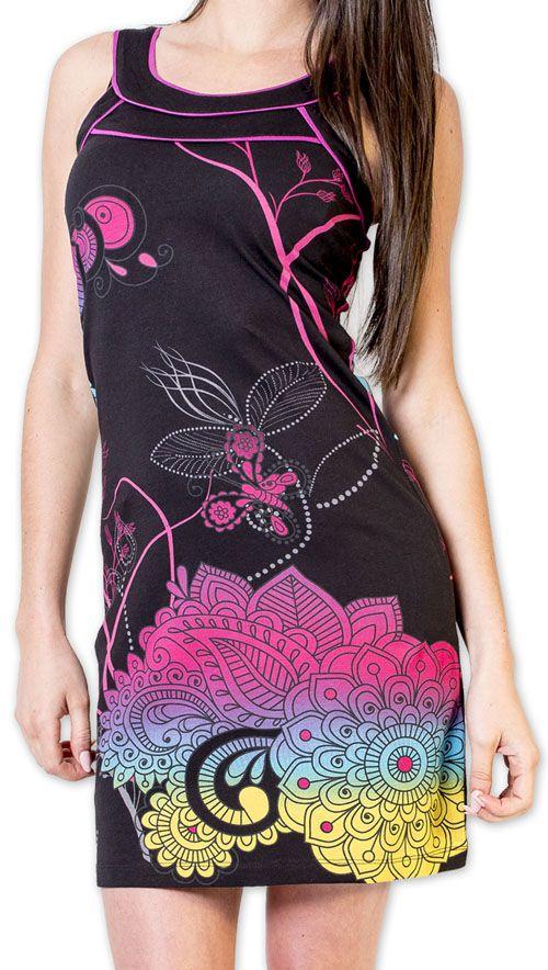 Magnifique robe courte chic et colorée Noire Jess 273495