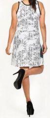 Magnifique robe courte ethnique et colorée - Blanche - Priscillia 272050