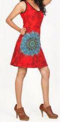 Magnifique robe courte ethnique et colorée - Rouge - Priscillia 272051
