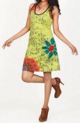 Magnifique robe courte ethnique et colorée - Vert anis - Priscillia 272053