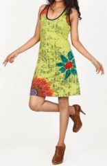 Magnifique robe courte ethnique et color�e - Vert anis - Priscillia 272053