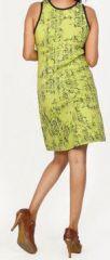 Magnifique robe courte ethnique et colorée - Vert anis - Priscillia 272054