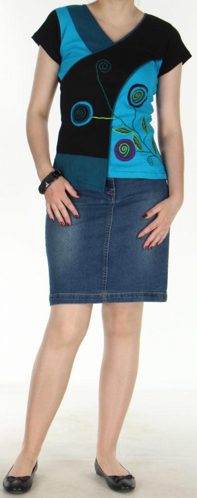 Magnifique Tee-Shirt femme original et asymétrique Bleu et Noir Linje 272331