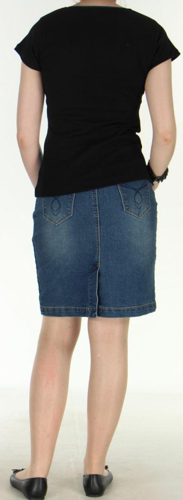 Magnifique Tee-Shirt femme original et asymétrique Bleu et Noir Linje 272332
