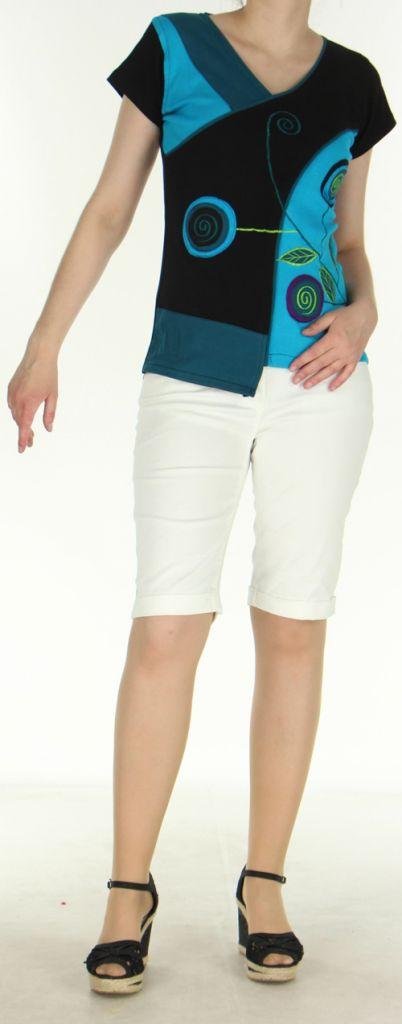 Magnifique Tee-Shirt femme original et asymétrique Bleu et Noir Linje 273128