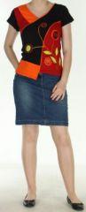 Magnifique Tee-Shirt femme original et asym�trique Orange et Noir Linje 272325