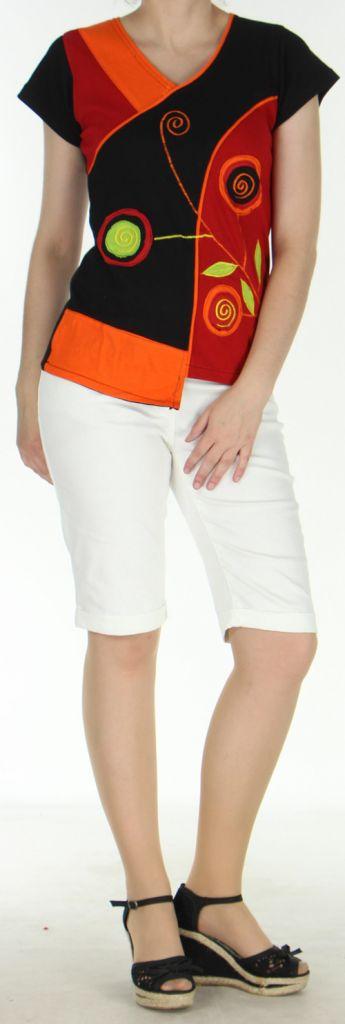 Magnifique Tee-Shirt femme original et asymétrique Orange et Noir Linje 273125