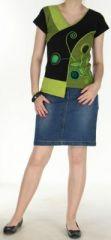Magnifique Tee-Shirt femme original et asym�trique Vert et Noir Linje 272329