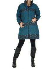 Manteau bleu � fermeture �clair centrale Clo� 266520