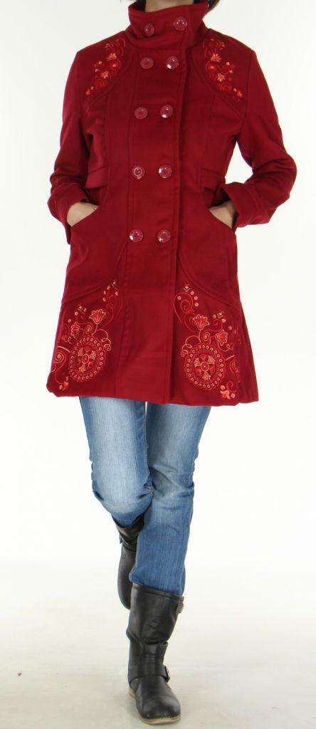 Manteau brodé Original et Coloré pour Femme Antarc Bordeaux 277664