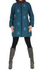 Manteau femme � capuche bleu Enza 266854
