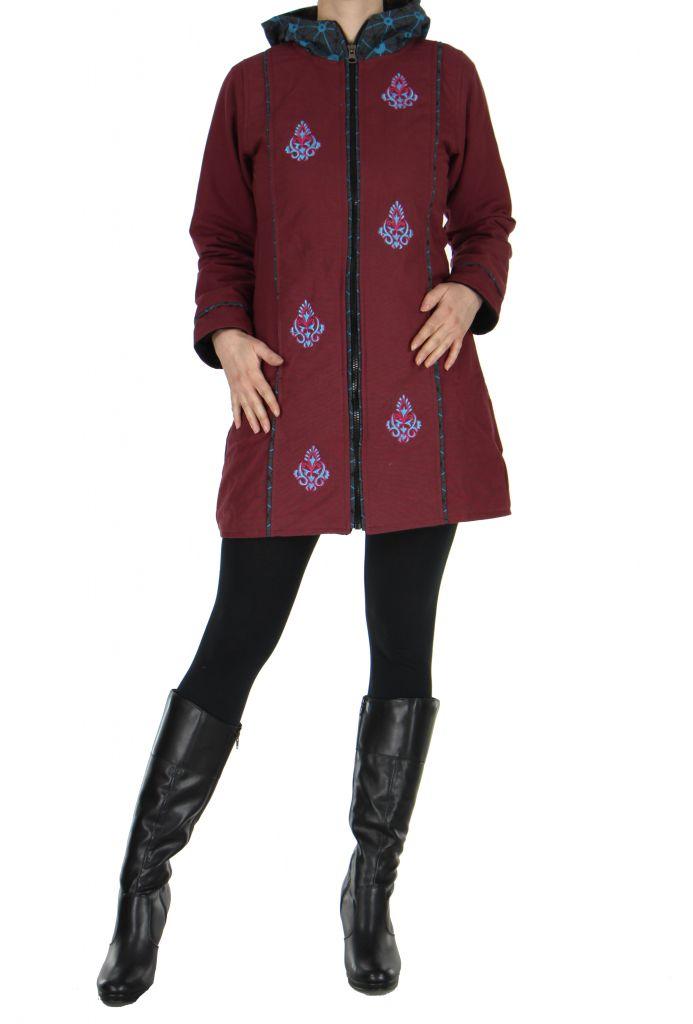Manteau femme à capuche bordeaux Enza 266856