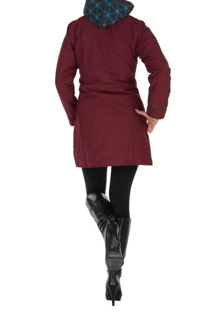 Manteau femme à capuche bordeaux Enza 266857
