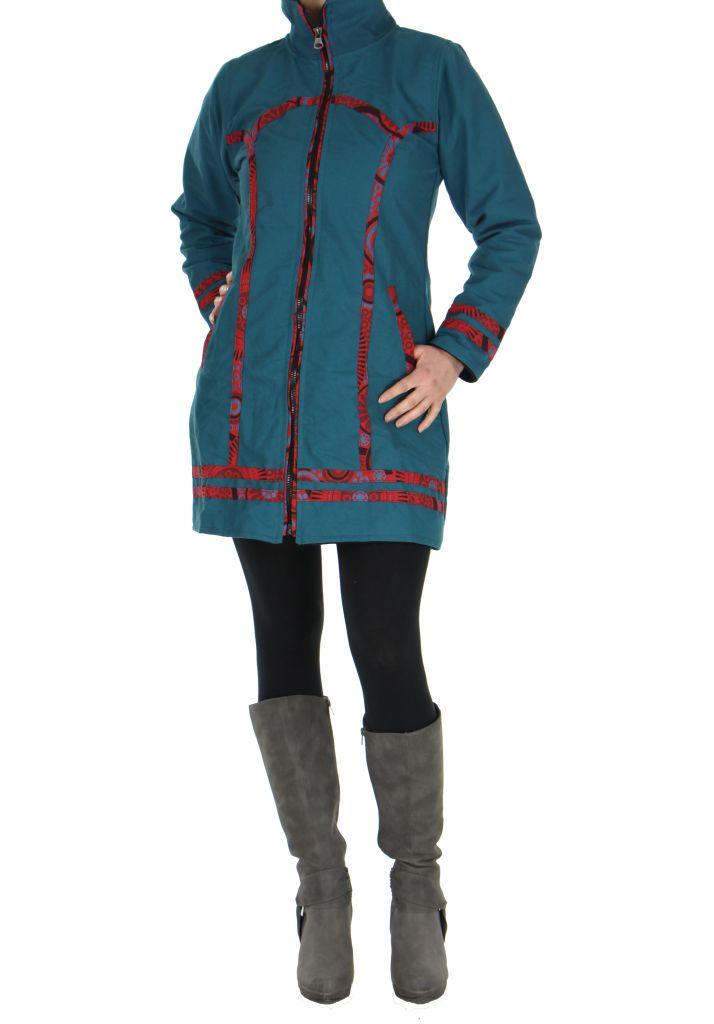 Manteau femme bleu ethnique Ava 266828