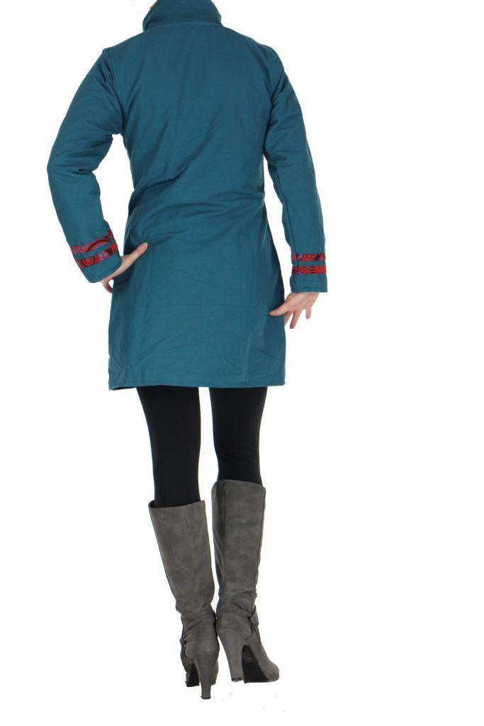 Manteau femme bleu ethnique Ava 266829