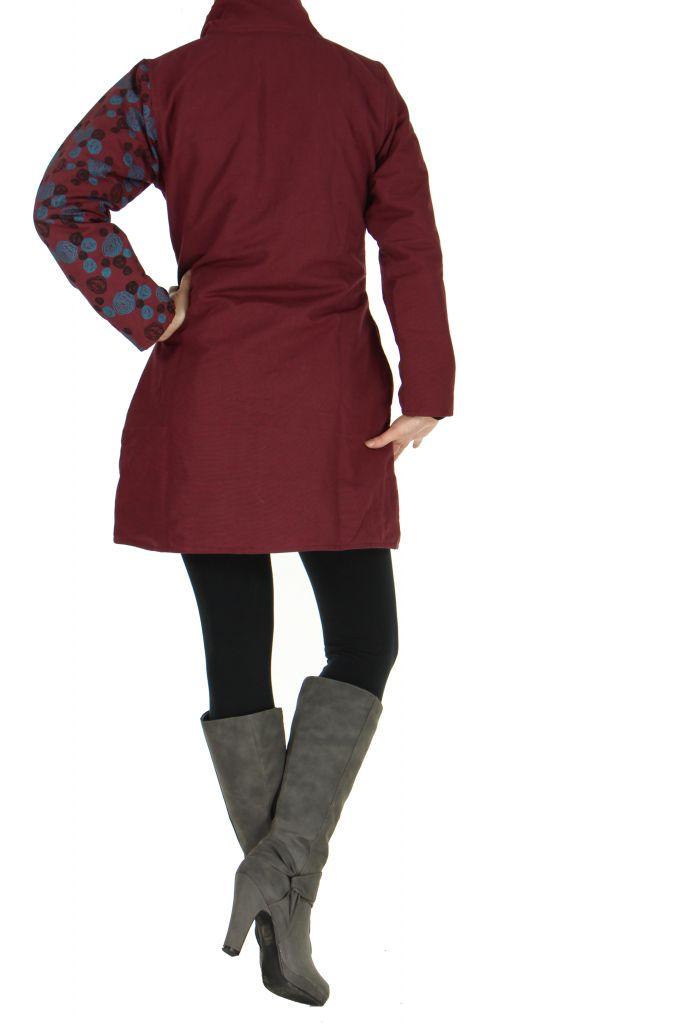 Manteau femme bordeaux coloré original Lily 266825
