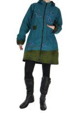 Manteau femme brod� bleu Lana 266500