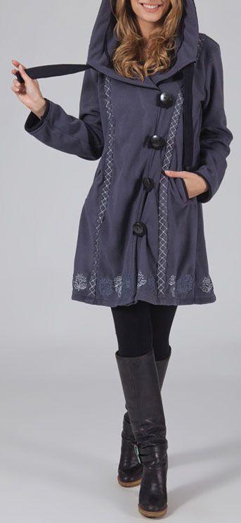 Manteau femme en polaire Ethnique et Original Eliad Gris 274593
