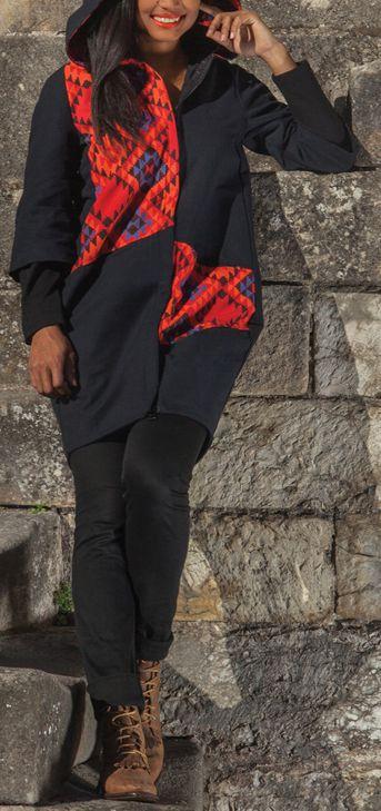 Manteau femme en toile de coton Ethnique et Coloré Giany 274611