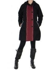 Manteau femme femeture � boutons noir Valiami 266624