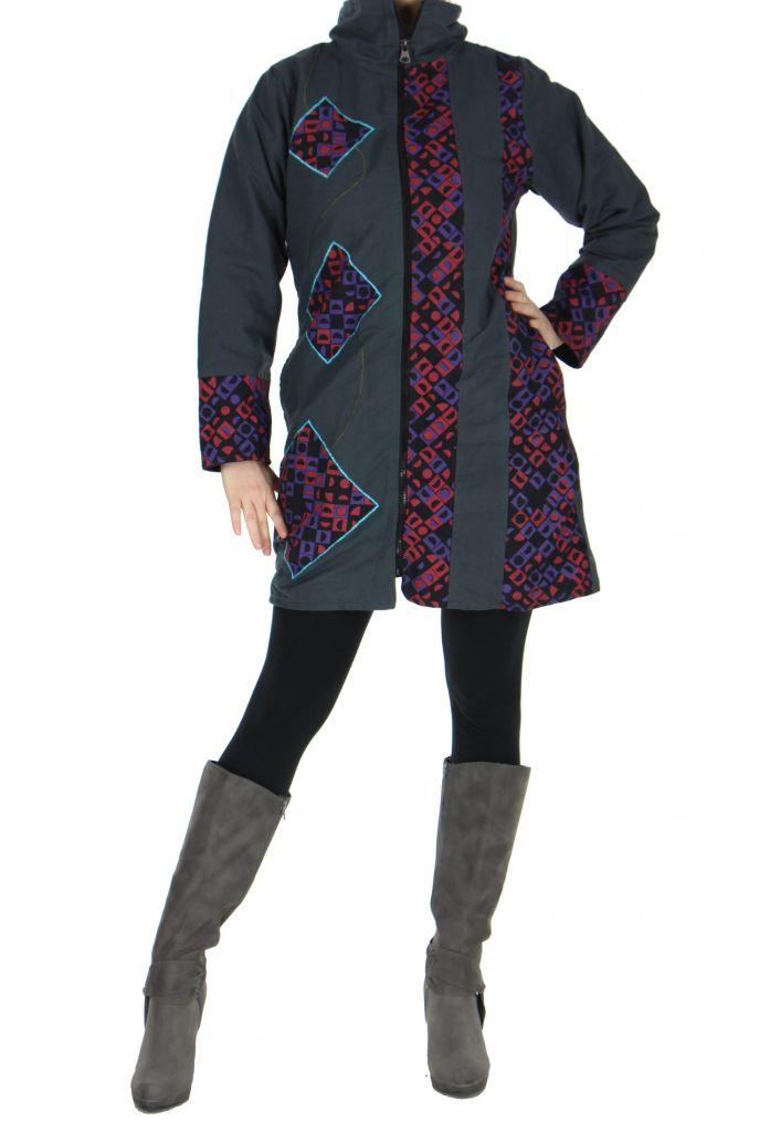 Manteau femme gris Gunjan 266793