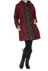 Manteau femme imprim� bordeaux Ounoh 266638