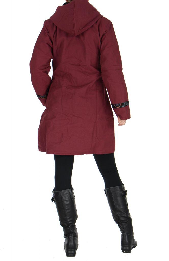 Manteau femme imprimé bordeaux Ounoh 266639