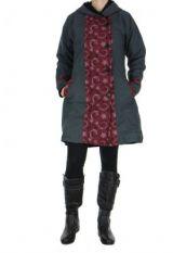 Manteau femme imprimé gris Ounoh 266636