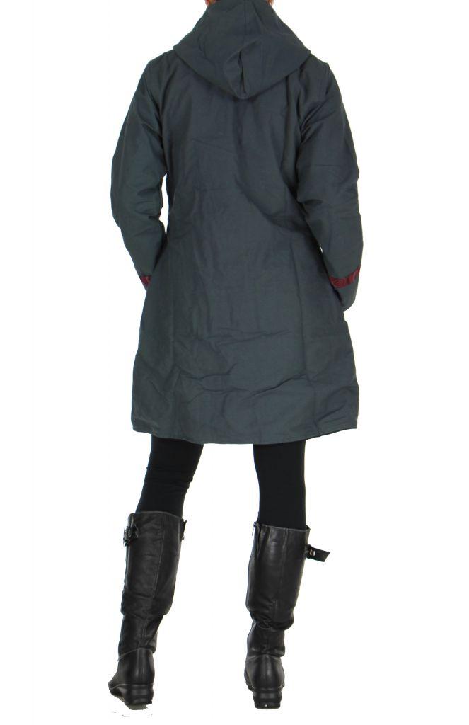 Manteau femme imprimé gris Ounoh 266637