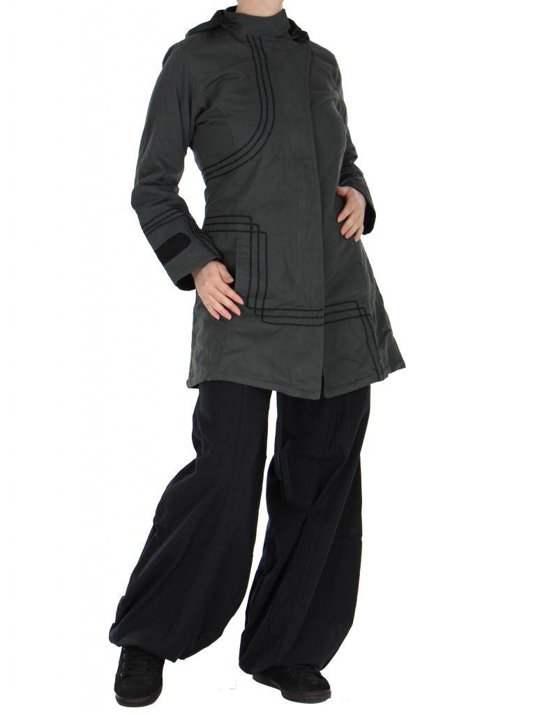 Manteau femme long chogah gris 266381