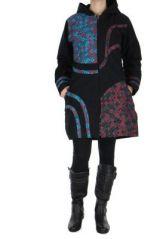 Manteau femme long psychédélique noir 266490